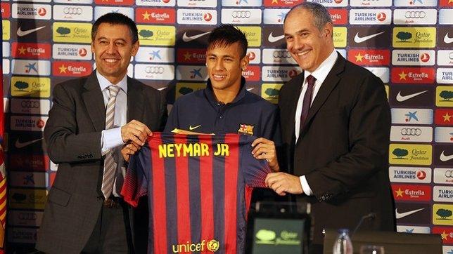 Josep Maria Bartomeu, Neymar y Andoni Zubizarreta