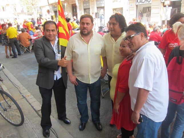 Oriol Junqueras (ERC) durante la Diada 2014