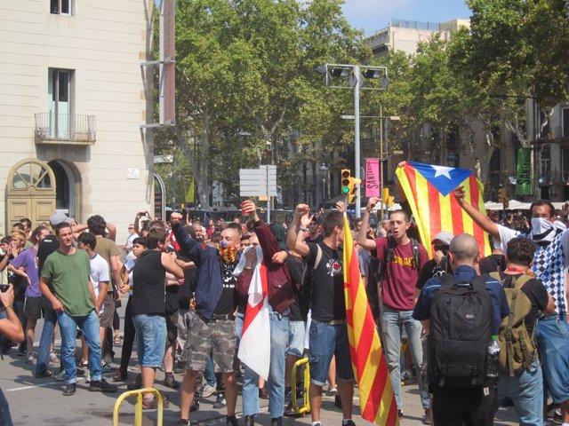 Manifestantes de Alianza Nacional e independentistas coinciden en la Diada 2014
