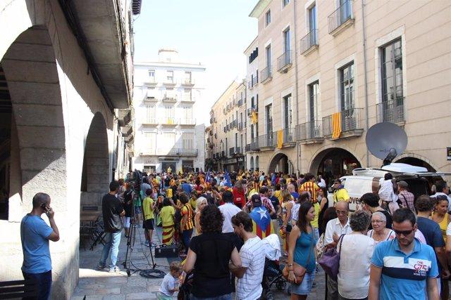 Manifestación independentista de Girona en la Diada 2014
