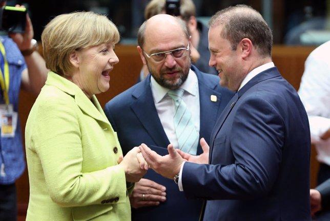 Merkel, Schulz y Muscat en la cumbre de la UE