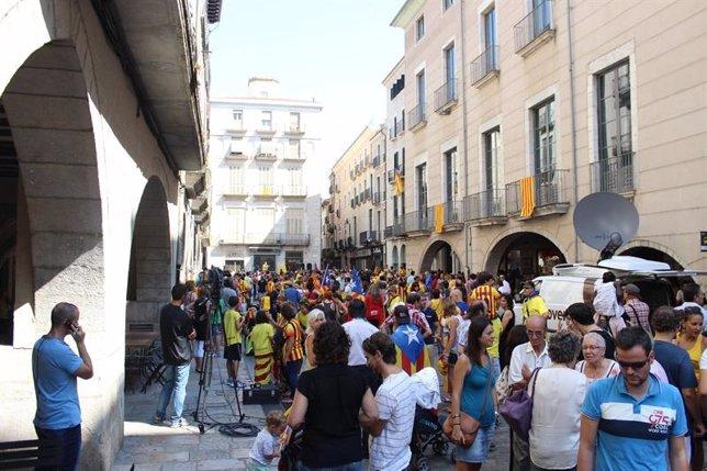 Manifestación independentista en Girona