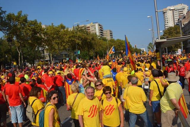 El pte.De la Diputació de Lleida Joan Reñé en la Diada 2014