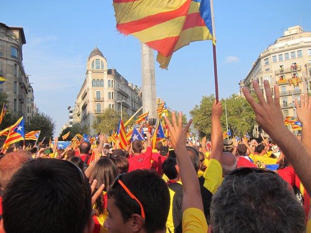 Participantes en la V esta Diada en la capital catalana