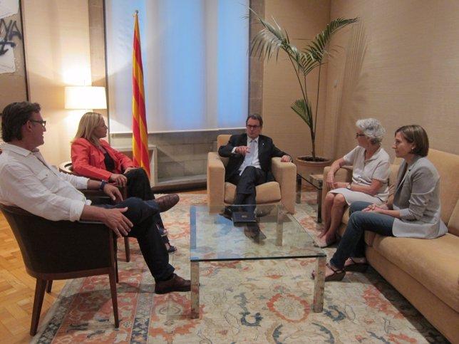 J.M.Vila d'Abadal (AMI),J.Ortega,pte.Artur Mas,M.Casals(Òmnium) C.Forcadell(ACM)