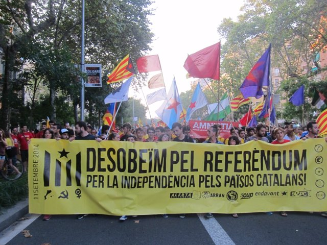 Manifestación de colectivos de izquierda independentista en la Diada 2014