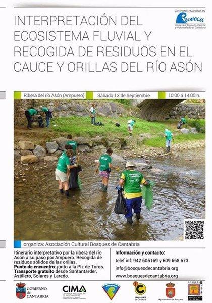 Voluntarios de PROVOCA recalan en Ampuero para limpiar las orillas del río Asón