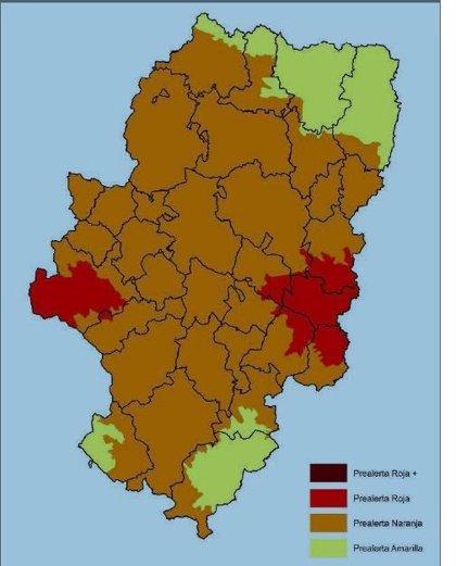 Prealerta roja por riesgo de incendios forestales en varias comarcas aragonesas