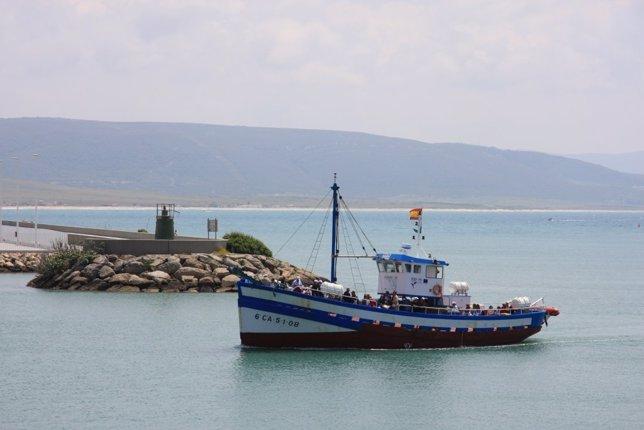 Un Barco Pesquero En La Zona De Almadrabas De Cádiz