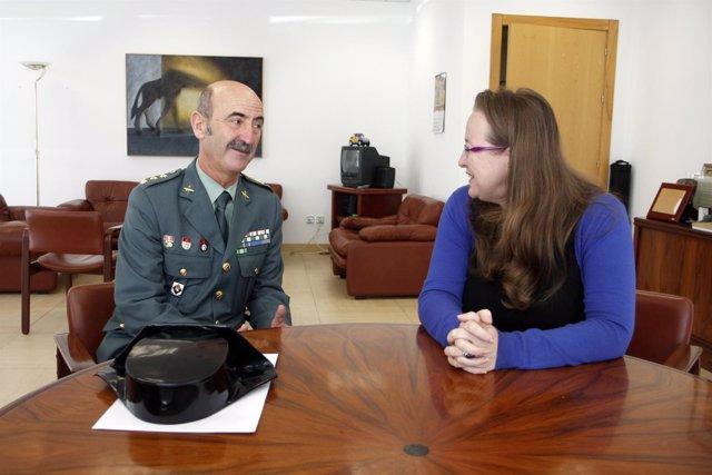 Encuentro de Leticia Díaz y el coronel jefe de la Guardia Civil Juan Arias