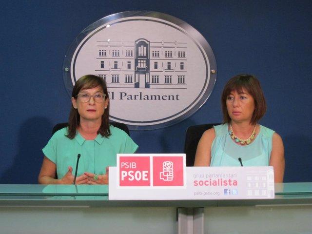 Conxa Obrador y Francina Armengol en rueda de prensa