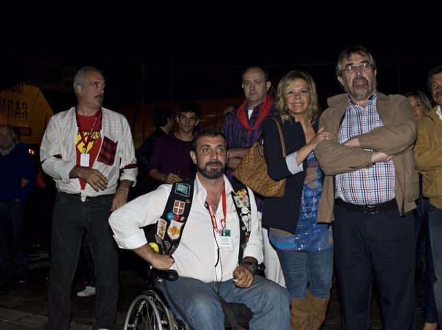 El presidente de Interpeñas, Braulio Cantera, y el alcalde Belloch