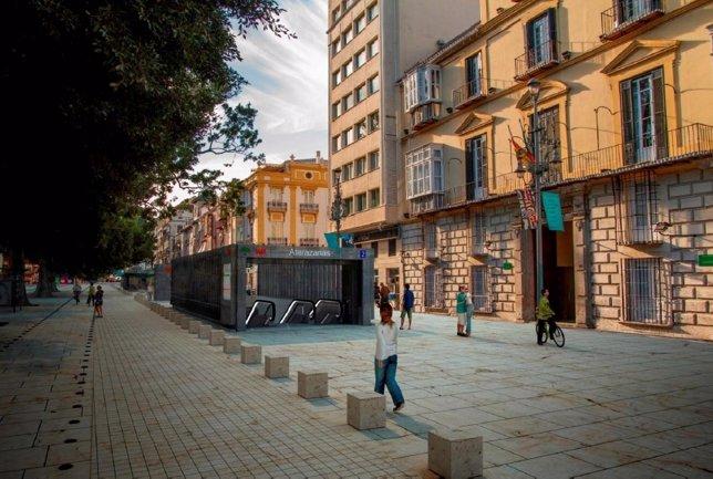 Metro estación Atarazanas lateral norte Alameda Principal Málaga