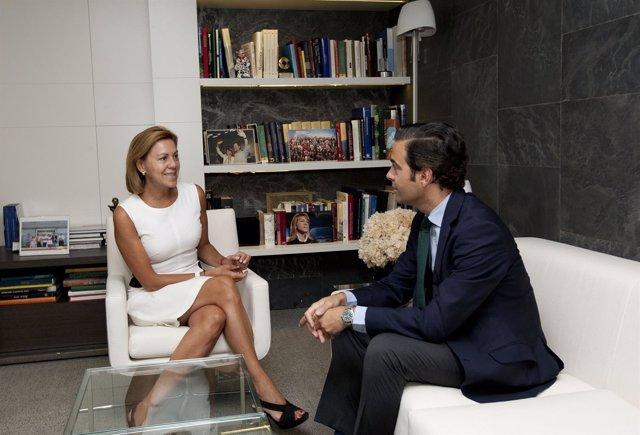 Reunión entre María Dolores de Cospedal y Pablo Zalba.