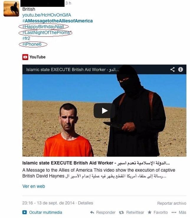 Imagen de uno de los mensajes difundidos por Estado Islámico