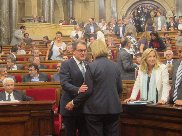 El presidente Artur Mas y la presidenta del Parlament Núria de Gispert