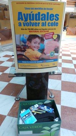 Correos y Mensajeros de la Paz recogen material escolar nuevo para desfavorecido