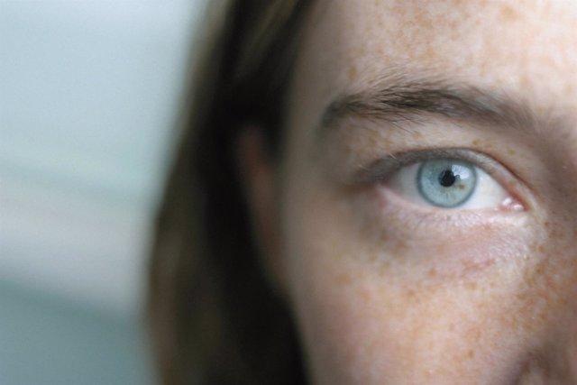 Visión, ojo, mujer, azul