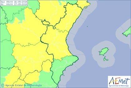 Castellón y Valencia se encuentran en alerta amarilla por chubascos que pueden ser localmente fuertes