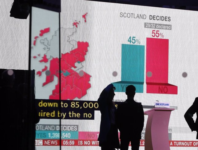 A screen displays the results of the Scottish vote on independence, in Edinburgh