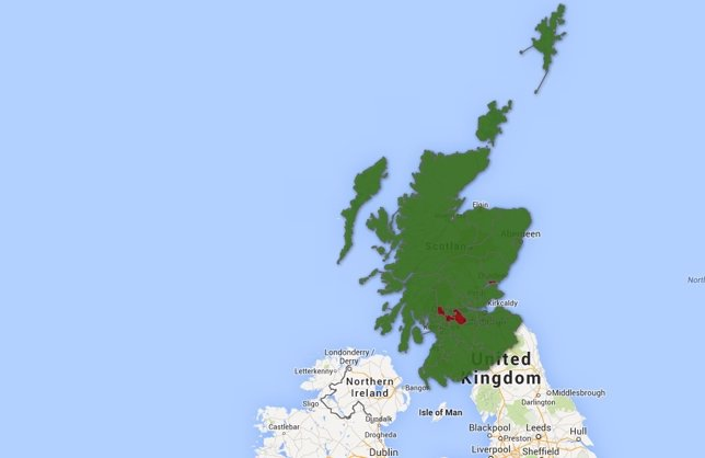 Mapa de Escocia, referendum