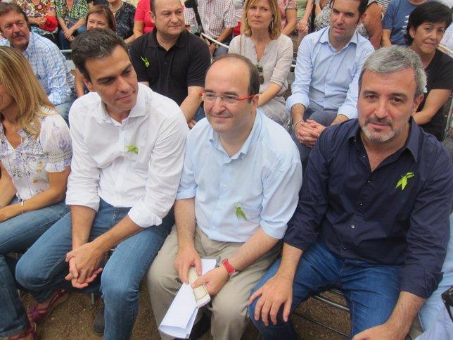 Pedro Sánchez (PSOE), Miquel Iceta, Jaume Collboni (PSC)