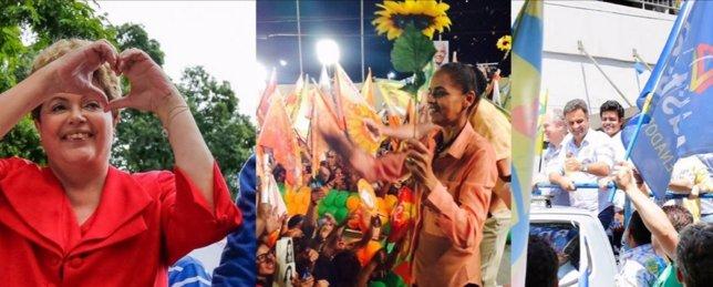 Dilma, Marina Silva y Neves