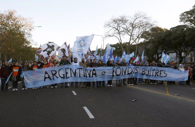 Manifestación en Argentina contra los fondos buitre