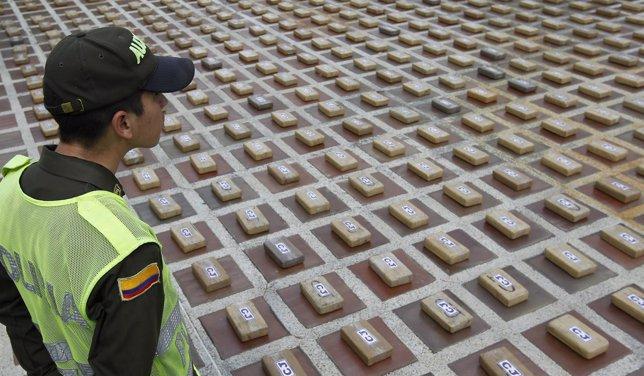 Los más de 600 kilos incautados a Los Urabeños por la Policía de Colombia.