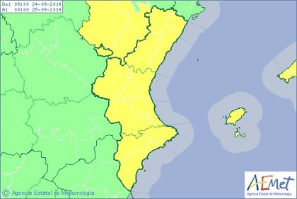 La Comunitat Valenciana está en alerta amarilla por tormentas que pueden ser localmente fuertes en el norte