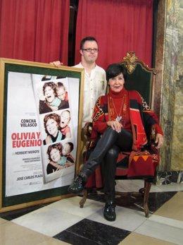 Concha Velasco y Hugo Aritmendiz este miércoles en el Teatro Principal