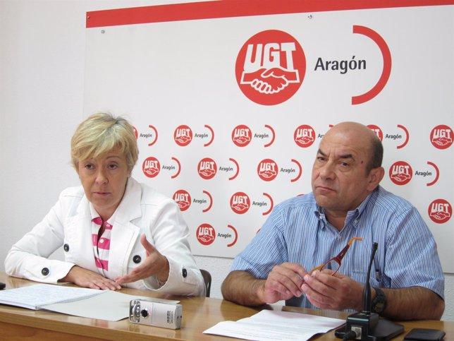 Carmen López y Daniel Alastuey este miércoles en rueda de prensa en Zaragoza
