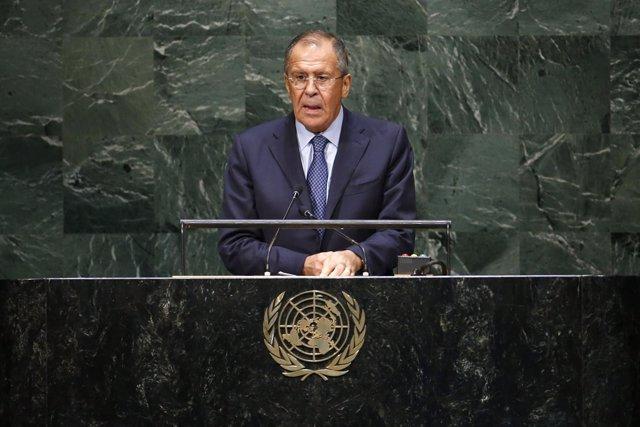El ministro de Asutnos Exteriores ruso, Sergei Lavrov, en la ONU