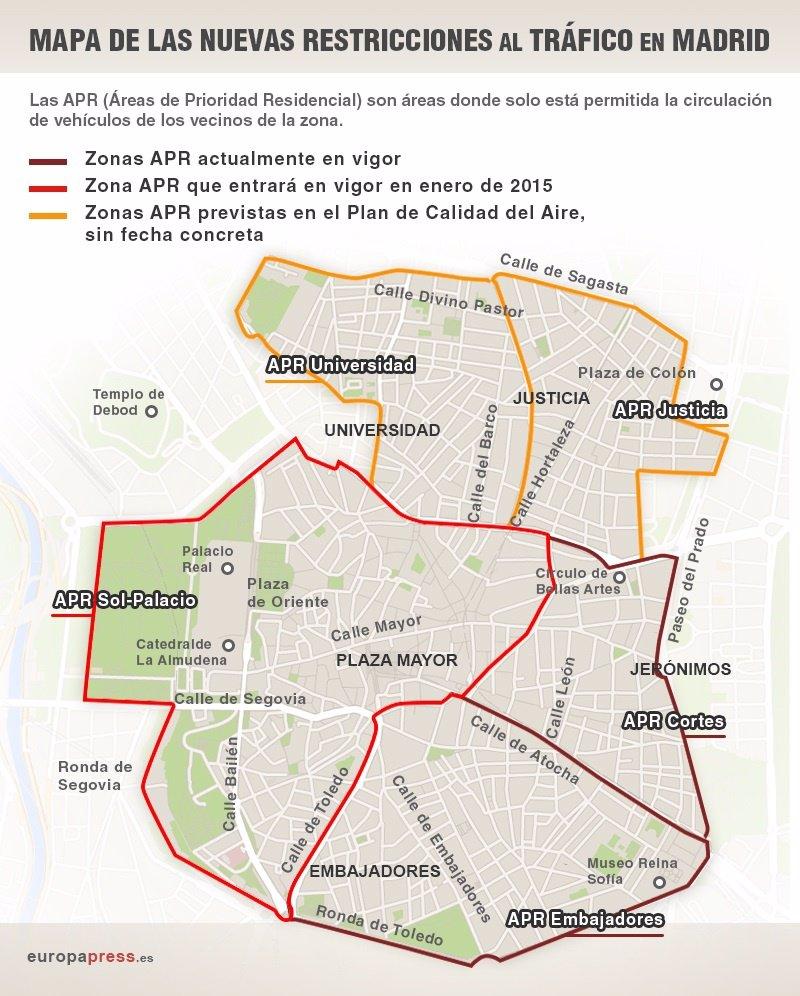 Restricciones Tráfico Madrid Mapa.Mapa De Las Nuevas Restricciones Al Trafico En Madrid