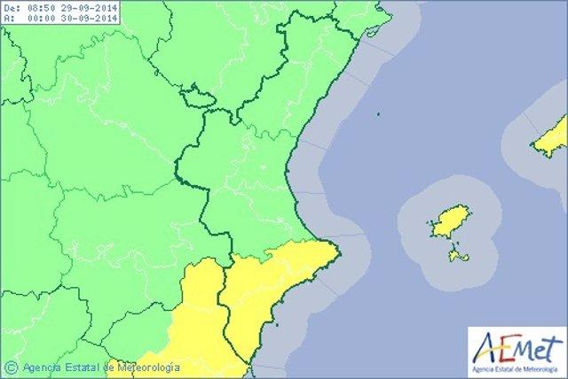 Alerta amarilla en el sur