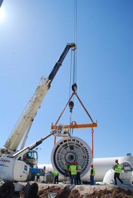 Instalación de un aerogenerador en Padul