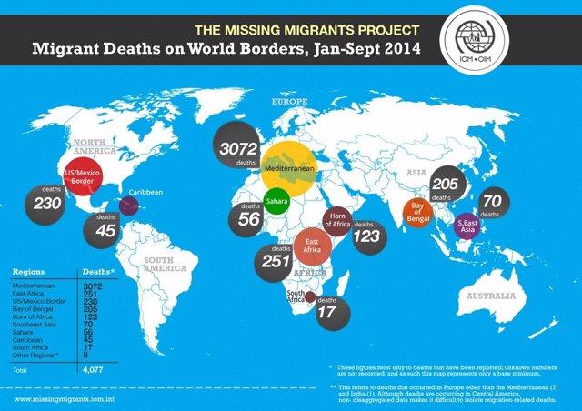 Mapa de las muertes de inmigrantes entre enero y septiembre de 2014