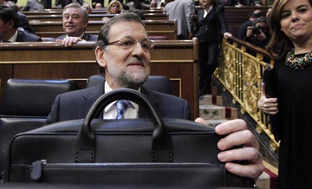 Mariano Rajoy, presidente del Gobierno, en su escaño del hemiciclo