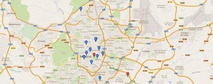 Mapa de los árboles caídos en Madrid en los últimos meses
