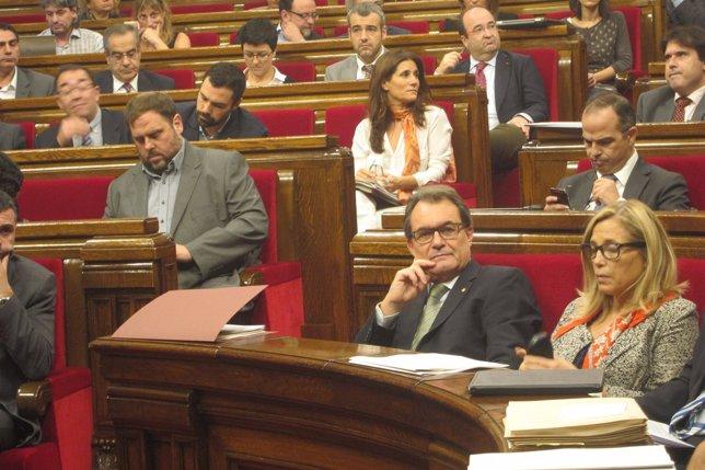 Pleno en el Parlament Mas y Junqueras