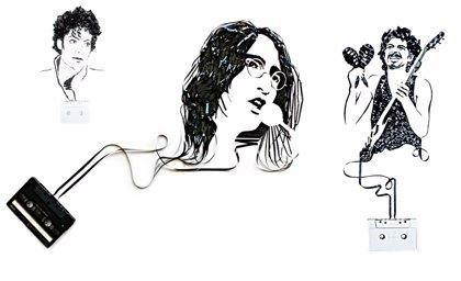 10 retratos de iconos de la música hechos con cinta de casete