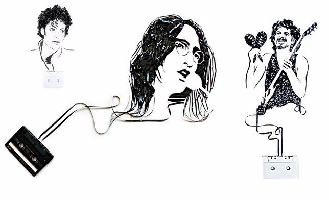 1O Retratos De Iconos De La Música Hechos Con Cinta De Casete