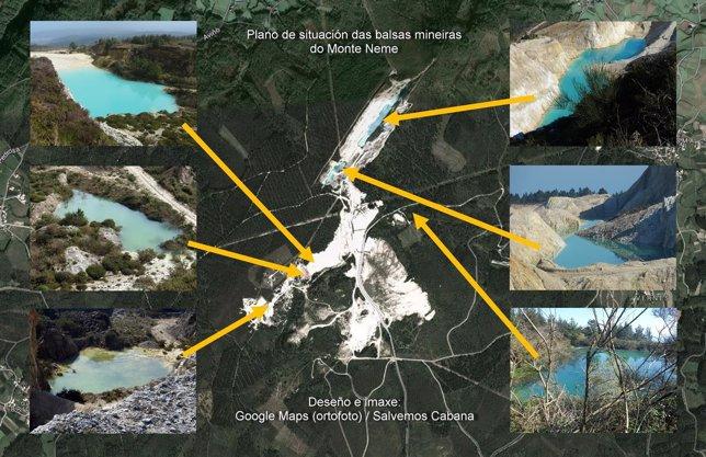 Plano de la situación de las balsas en Monte Neme, Carballo (A Coruña)