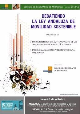Cartel del Colegio Geógrafos para debatir Ley Andaluza de Movilidad Sostenible
