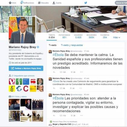 """Rajoy recuerda en su cuenta personal de 'Twitter' que frente al ébola """"se debe mantener la calma"""""""