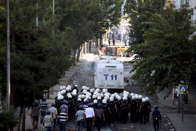 Manifestaciones de población kurda en Turquía.