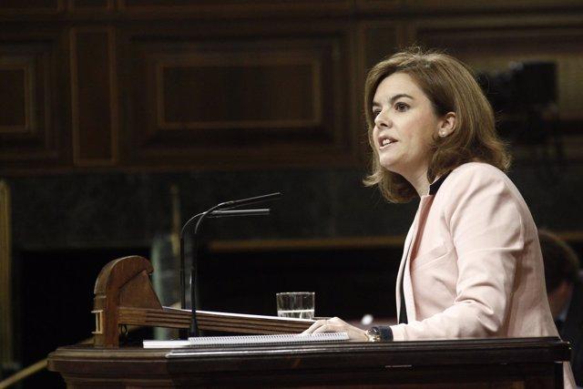 Soraya Sáenz de Santamaría, en la tribuna del hemiciclo