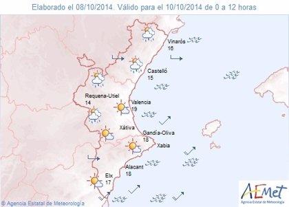 El fin de semana se inicia con posibilidades de chubascos fuerte en Castellón y débiles en Valencia