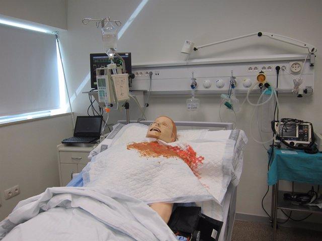 Muñeco de prácticas para el ébola en La Fe