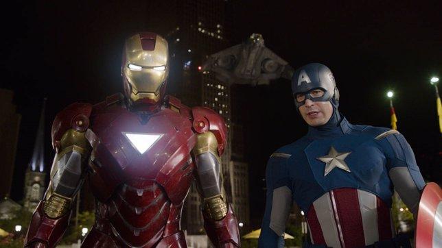 Iron Man y Capitán América en Los Vengadores